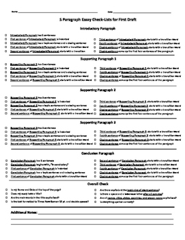 Five Paragraph Essay Revision Checklist for First Draft