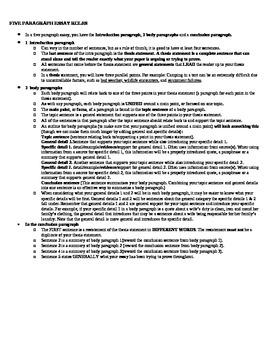 Five Paragraph Essay Rules