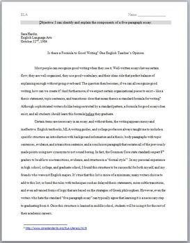 Sample Five Paragraph Essay & Activity