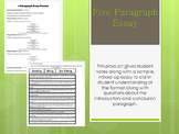 Five Paragraph Essay: Student Notes and a Mixed-Up Essay
