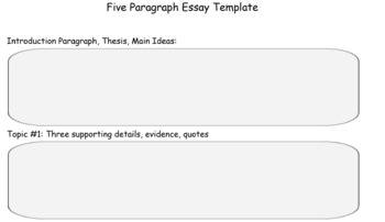 Five Paragraph Essay Template for Writers: Graphic Organizer