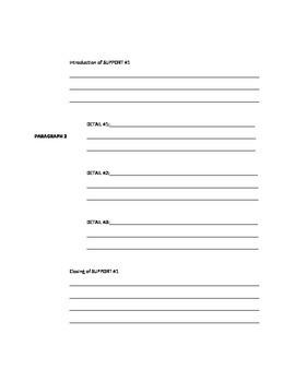 """Five Paragraph Essay Template with """"THE HOOK"""" or LEAD"""