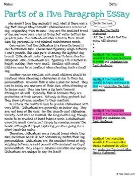 Five Paragraph Essay Unit l Common Core