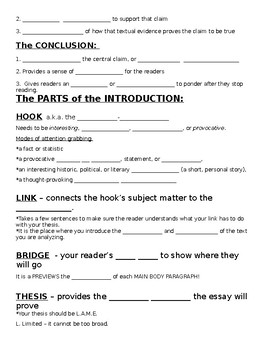Five Paragraph Essay notes sheets