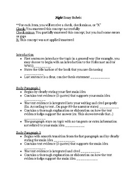 Five Paragraph Essay over Night by Elie Wiesel w/ Rubric