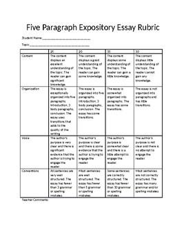 5 paragraph essay rubric 7th grade