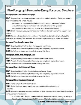 Five Paragraph Opinion Essay Resource Pack with Color-Coding Intro Activity