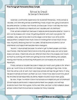 Introducing the Five Paragraph Persuasive Essay: Resource Pack
