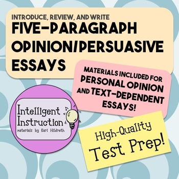 Five Paragraph Opinion Essay Resource Pack with Color-Codi