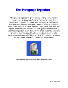 Five Paragraph Organizer