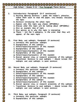 Five Paragraph Theme Outlines