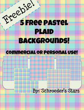 Five Pastel Plaid Backgrounds: Free for Personal or Commerical Use