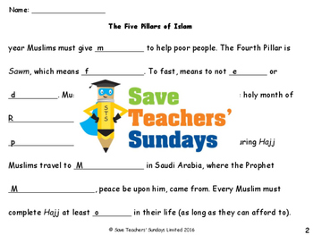 Five Pillars of Islam Lesson plan, Worksheets and Activity