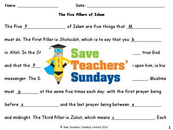 Five Pillars of Islam Lesson plan, Worksheets... by Save ...