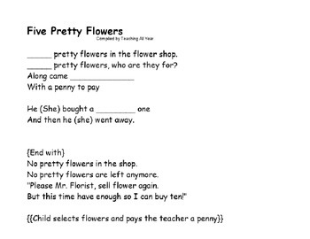Five Pretty Flower Fingerplay and Pieces