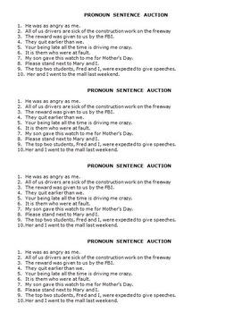 Five Pronoun Rules, Pronoun Exercises, and a Pronoun Auction