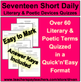 17 Daily Quick & Easy Literary & Poetic Devices Quizzes - Easy to Mark!