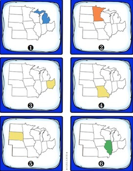Five Regions: States and Capitals Task Cards