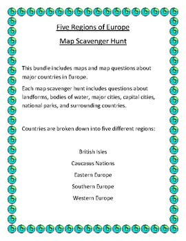 Five Regions of Europe Map Scavenger Hunt