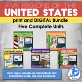 Regions of the United States: 5 Units Print and Digital Bundle Distance Learning