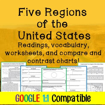 Five Regions of the United States Lesson Plan: Reading, Worksheets, Graphic Org!