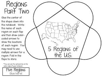 Five Regions of the United States ~ Social Studies Interactive Notebook Pack