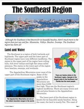 Regions of the United States: Southeast, Informational Text (5 Regions)