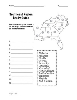 photo about Southeast Region States and Capitals Map Printable referred to as Spots of the United Suggests: Southeast, Investigation Direct (5 Locations)