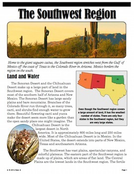 Regions of the United States: Southwest, Informational Text (5 Regions)