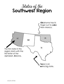Regions of the United States: Southwest, Study Guide (5 Regions)