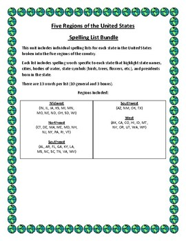Five Regions of the United States Spelling List Bundle