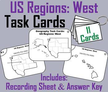 Five Regions of the United States Task Cards Bundle (US Geography Unit)