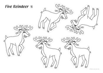 Five Reindeer Coloring Activity