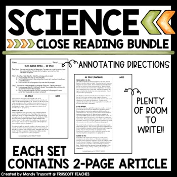 Six Science Close Reading Articles & Questions
