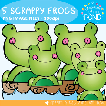 Five Scrappy Frogs - Clipart / Graphics From the Pond