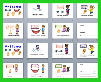 Five Senses PowerPoint - 3 Reading Levels + Illustrated Vocabulary
