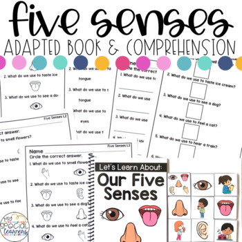 Five Senses Adapted Book & Comprehension for Special Education