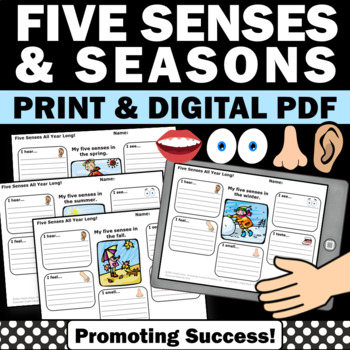 Five Senses Writing Activities for Health or Seasons Unit