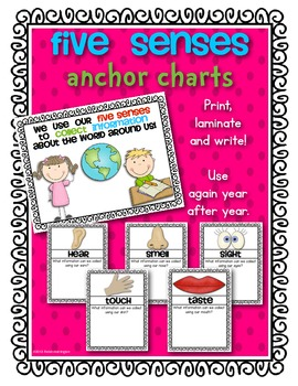 Five Senses {Anchor Charts/Posters} for Science and Young
