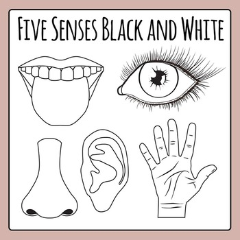 Five Senses Black and White Line Art Clip Art Pack for Commercial Use