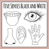 Five Senses Black and White Line Art Clip Art Pack for Commercial Use