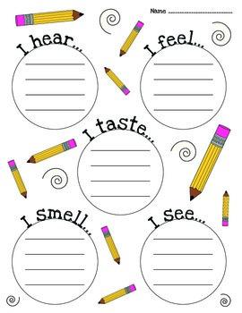 FREE Five Senses Brainstorm