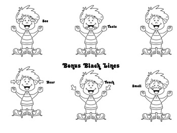Five Senses Clip Art in Different Skin Tones and Eye Colors