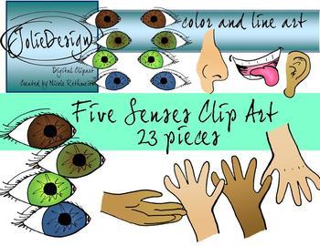 Five Senses Clipart Set - Color and Line Art 23 pc set
