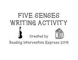 Five Senses Descriptive Writing Organizer