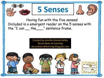 "Five Senses Emergent Reader ""I can ____ the _____."""
