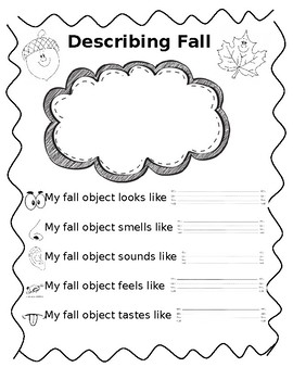 five senses fall adjectives worksheet enl esl by enjoying enl tpt. Black Bedroom Furniture Sets. Home Design Ideas