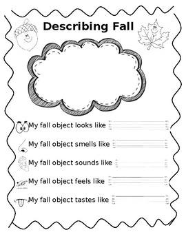 Five Senses Fall Adjectives Worksheet - ENL/ESL