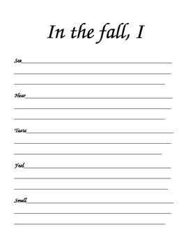 Five Senses Fall Writing
