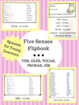 Five Senses Flipbook: VER, OLER, TOCAR, PROBAR, OÍR (2 Versions!)
